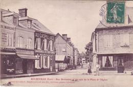 BE17-  BEUZEVILLE  DANS L'EURE RUE BERTINIERE ET UN COIN DE LA PLACE DE L'EGLISE CPA  CIRCULEE - France