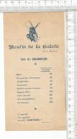 PN / Vintage // PETIT MENU MOULIN DE LA GALETTE @@ MONTMARTE PARIS // MOULIN TARIF CONSOMMATIONS - Menu