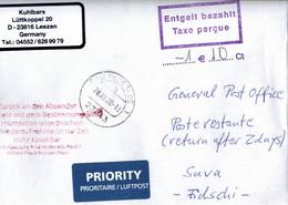 ! 28.8.2020 Cover Interruption Of Postal Service Germany To Suva, Fiji Islands, Covid19, Internationaler Antwortschein - Fiji (1970-...)
