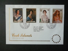 COOKS ISLANDS 1985 QUEEN MOTHER 85th BIRTHDAY STAMPS FDC - Cook