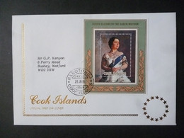 COOKS ISLANDS 1985 QUEEN MOTHER 85th BIRTHDAY MS FDC - Cook