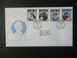 FALKLAND ISLANDS 1985 QUEEN MOTHER 85th BIRTHDAY STAMPS FDC - Falklandinseln