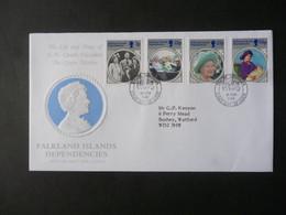 FALKLAND ISLANDS DEPENDENCIES 1985 QUEEN MOTHER 85th BIRTHDAY STAMPS FDC - Falklandinseln