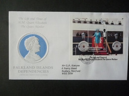 FALKLAND ISLANDS DEPENDENCIES 1985 QUEEN MOTHER 85th BIRTHDAY MS FDC - Falklandinseln