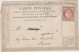 N°58 O. étoile2 , Paris R. Milton 1873 / CP Précurseur - 1849-1876: Periodo Clásico