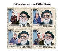 Togo 2012 MNH - Abbe Pierre (100th Anniversary), D.D. Eisenhower, I. Gandhi, A. Einstein. YT 2996-2999, Mi 4533-4536 - Togo (1960-...)