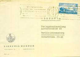 1958 , BARCELONA - BERLIN , CORREO AÉREO , SOBRE CIRCULADO , ED. 1237 - CONGRESO INTERNACIONAL DEL FERROCARRIL - 1951-60 Covers