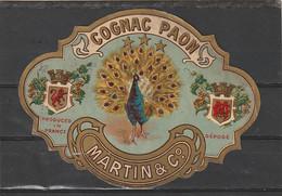 *** ETIQUETTE ***  Chromo-litho 19eime Parafinée Rare  COGNAC Paon Cognac Martin Et Cie ( Avant Remy Martin) - Labels