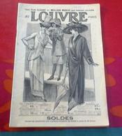 Catalogue Soldes Au Louvre Paris 1912 Soieries Chapeaux Lingerie Corsets Ombrelles Bains De Mer Bijouterie Maroquinerie - Pubblicitari