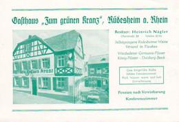 "Rüdesheim A. Rhein   Pension   Gasthaus  "" Zum Grünen Kranz ""   Be. Nägler - Etiquettes D'hotels"