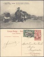 Congo Belge - EP Au Type 10ctm Rouge Palmier Avec Vue N°6 : Katanga Sur La Ligne De Sakania à Elisabethville / Tram - Interi Postali