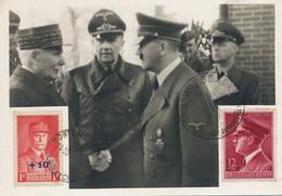 Marechal Philippe Pétain Et Adolf Hitler Montoire 1940. Maximum 1942 Wiesbaden - Uomini Politici E Militari