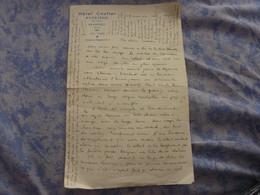 LETTRE MANUSCRITE A EN TETE HOTEL COUTTET ROSELEND  BEAUFORT SAVOIE  UN DIMANCHE SOIR 1939 - Autografi