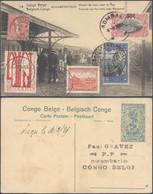 """Carte Postale (EP Vue N°74 Elisabethville, La Gare) + """"Petit Tour Du Monde"""" (Congo, Orval, Tchéquie, Italie, France). - Belgian Congo - Other"""
