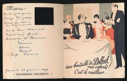 MENU - 1929  - UNE BOUTEILLE DE DELBECK MES ENFANTS ! C'EST LE MEILLEUR -  15 X 12 CM  2 AFBEELDINGEN - Menu