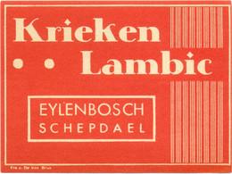 Oud Etiket / Ancienne étiquette Bier Bièrre : Krieken Lambic - Brouwerij Eylenbosch Schepdaal - Bier