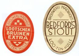 Oude Etiketten / Anciennes étiquettes Bier Bièrre : Stout + Lootschen Bruinen Extra - Brouwerij Maenhout Lotenhulle - Bier