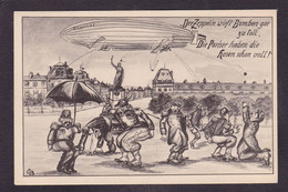 CPA Allemagne Patriotique Germany Caricature Satirique Voir Scan Du Dos Zeppelin Paris - Satirical