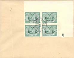 MiNr.3 4rer Block Eckrand Dienstmarken  GG Auf Sammlerbeleg - Occupation 1938-45