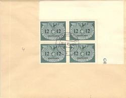 MiNr.4 4rer Block Eckrand Dienstmarken  GG Auf Sammlerbeleg - Occupation 1938-45