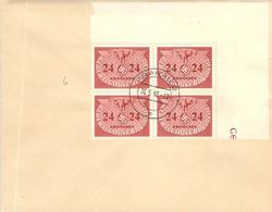 MiNr.6 4rer Block Eckrand Dienstmarken  GG Auf Sammlerbeleg - Occupation 1938-45