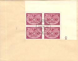 MiNr.7 4rer Block Eckrand Dienstmarken  GG Auf Sammlerbeleg - Occupation 1938-45