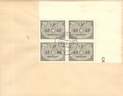 MiNr.9 4rer Block Eckrand Dienstmarken  GG Auf Sammlerbeleg - Occupation 1938-45