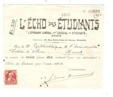 REF2083/ TP 74 S/Reçu L'Echo Des Etudiant (Libéral) De 3,10 Frs C.St.Gilles (Ch De Charleroi) 16+/11/1908 - Andere