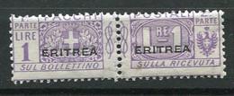 ERI - COLIS POSTAUX  1924 Yv. N°  14  Surcharge Plus Large  * 1l   Violet  Cote  2,5 Euro  TBE   2 Scans - Eritrea