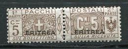 ERI - COLIS POSTAUX  1924 Yv. N°  9  Surcharge Plus Large  * 5c  Brun  Cote  1,5 Euro  TBE   2 Scans - Eritrea