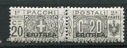 ERI - COLIS POSTAUX  1924 Yv. N°  11   Surcharge Plus Large  * 20c  Gris  Cote  1,5 Euro  TBE   2 Scans - Eritrea