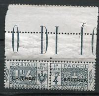 ERI - COLIS POSTAUX  1924 Yv. N°  17 BdF  Surcharge Plus Large  ** MNH   4l  Gris-vert  Cote  6  Euro  TBE   2 Scans - Eritrea