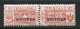 ERI - COLIS POSTAUX  1924 Yv. N°  12   Surcharge Plus Large  * 25c  Rouge  Cote  1,5 Euro  TBE   2 Scans - Eritrea