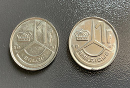 BELGIO - BELGIQUE - 1990 E 1991  - 2 Monete 1 Franco - 04. 1 Franc