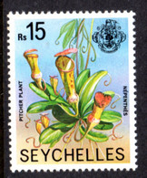 SEYCHELLES - 1977-1984 PITCHER PLANT 1978 15R STAMP NO IMPRINT DATE FINE MNH ** SG 418A - Seychellen (1976-...)