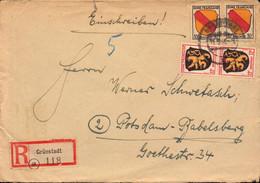 Lettre,Allemagne, Grunstadt, Zone Française, Recommandé Pour Potsdam-babelsberg, Blasons, 1946  (bon Etat) - Französische Zone