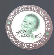 Oud Etiket : LOKEREN, DEVRIESE VAN LOO, ST. LAURENt's BISCOTTES DE MENAGE, MENAGE BESCHUIT - Labels