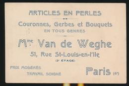 ARTICLES EN PERLES  Mme VAN DE WEGHE  51 RUE ST LOUIS EN L'ILE  PARIS - Cartes De Visite