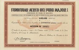 Titre Ancien - Funicular Aero Del Puig Major S.A. - Titulo De 1935 - EF - Ferrovie & Tranvie