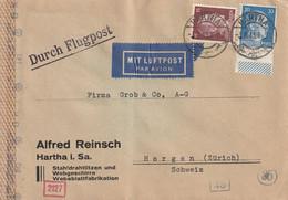 Allemagne Lettre Censurée Par Avion Hartha Pour La Suisse 1943 - Deutschland