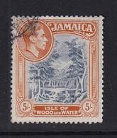 Jamaica: 1938/52   KGVI    SG132b    5/-   Slate-blue & Yellow-orange   [Perf: 13]   Used - Jamaïque (...-1961)