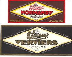2 Oude Etiketten LOKEREN, DEVREESE-VAN LOO, ST. LAURENT ONTBIJTKOEK EN HONEY CAKE - Labels
