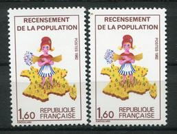 19904 FRANCE N°2205a**(Cérés) Recensement : Chiffres Verts Décalés + Normal (non Fourni)  1982  TB - Varieteiten: 1980-89 Postfris