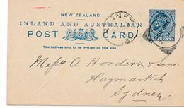 1 CARTE ENTIER  POSTAL POSTAUX NEW ZELAND ZEALAND De GISBORNE Pour SYDNEY AUSTRALIE HAYMARKET NSW 1899 - 1855-1907 Kronenkolonie
