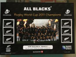 Rugby Cup 2011 All Blacks Champion France New Zealand Nouvelle Zélande Bloc Feuillet Neuf - Blocks & Kleinbögen