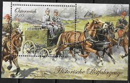 AUSTRIA, 2020, MNH, HISTORICAL POSTAL TRANSPORT, COACHES, HORSES, S/SHEET - Verkehr & Transport