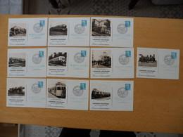 FRANCE Entiers POSTAUX 8 X 8 Francs Marianne Gandon Repiqué Exposition Cheminots Locomotives Série Complète    Voir Scan - Standaardpostkaarten En TSC (Voor 1995)