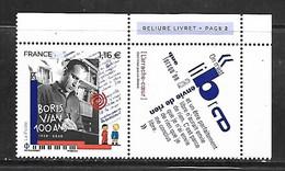 Fg235  France Boris Vian N°5406 N++ Issu Du Feuillet - Frankreich