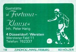 """1 Altes Gasthausetikett, Gaststätte """"Fortuna Klause"""", Inh.: Peter Harig, 4000 Düsseldorf/Wersten,Werstener Feld 11 #1150 - Boites D'allumettes - Etiquettes"""