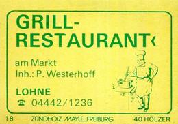 1 Altes Gasthausetikett, Grill-Restaurant Am Markt, Inh.: P. Westerhoff, Lohne #1151 - Boites D'allumettes - Etiquettes